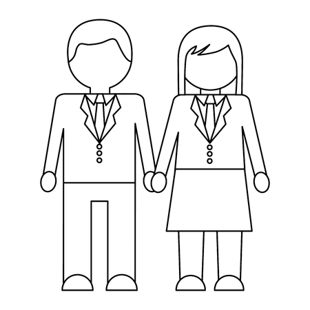 businesspeople man and woman holding hands vector illustration outline design Illustration