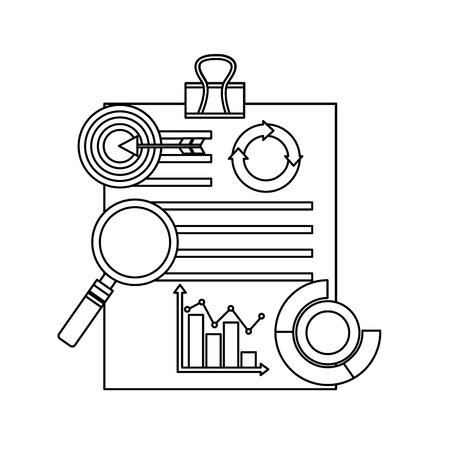 paperwork with clip diagram flowchart target analysis business vector illustration outline design Stock Illustratie