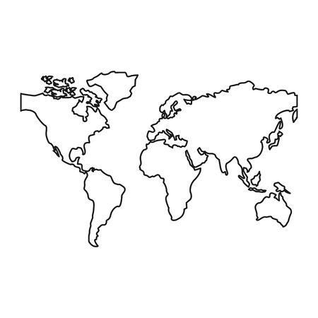 世界地図大陸グローバル画像ベクトルイラストアウトラインデザイン