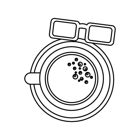 皿とメガネ上のコーヒーカップトップビューベクターイラストアウトラインデザイン  イラスト・ベクター素材