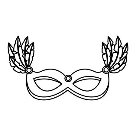 carnival mask with feathers decoration vector illustration outline design Banco de Imagens - 98084710