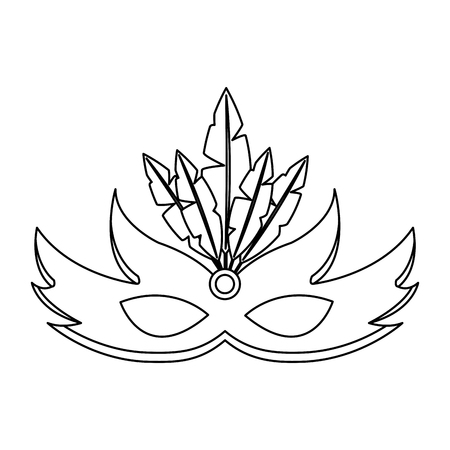carnival mask with feathers decoration vector illustration outline design