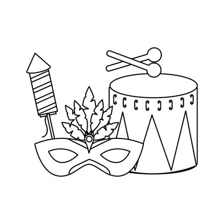 carnival drum mask and firework rocket vector illustration outline design Illustration
