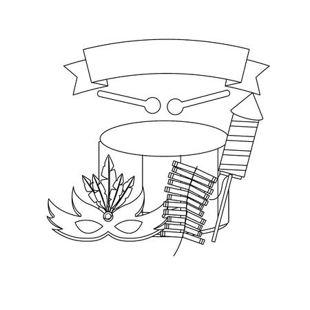 carnival drum mask fireworks celebration banner vector illustration outline design