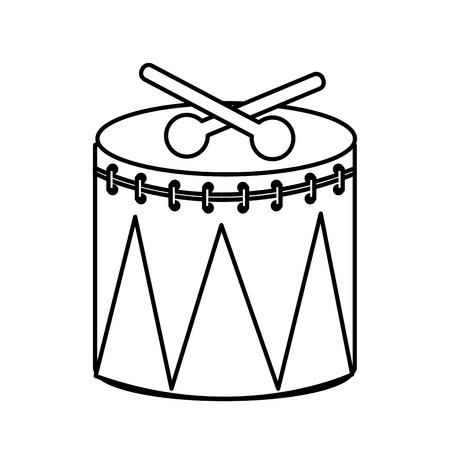 instrument percussion sticks musical celebration vector illustration outline design Illustration