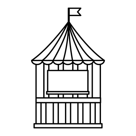 carnival circus funfair booth flag vector illustration outline design