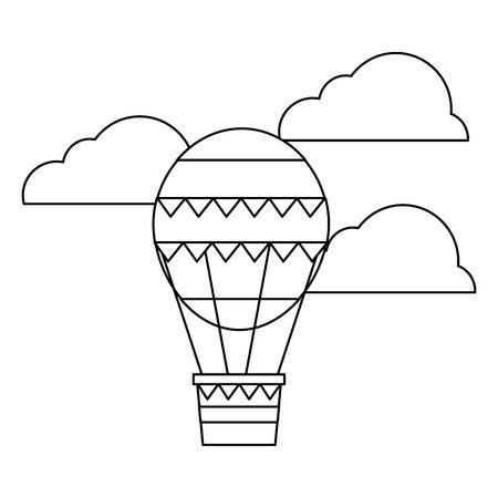 空の冒険ベクトルイラストアウトラインデザインで熱気球を飛ぶ  イラスト・ベクター素材
