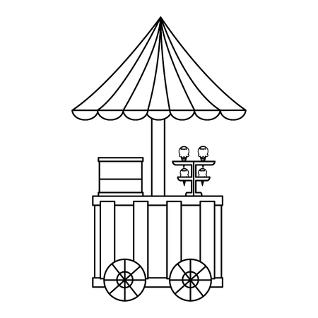 ice cream cart with umbrella festival food vector illustration outline design