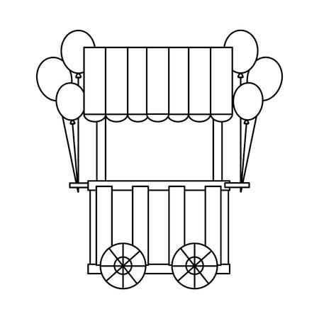 carnival cart booth wheel balloons decoration vector illustration outline design