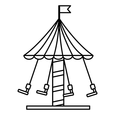 carnival fun fair festival carousel with chair flying vector illustration outline design