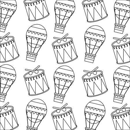 carnival funfair festive pattern hot air balloon and drum vector illustration outline design  イラスト・ベクター素材