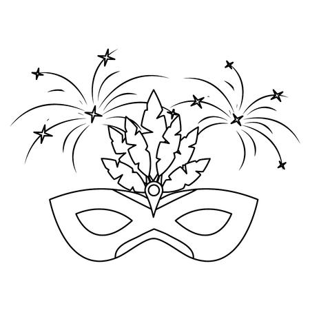 carnival mask with feathers fireworks decoration vector illustration outline design
