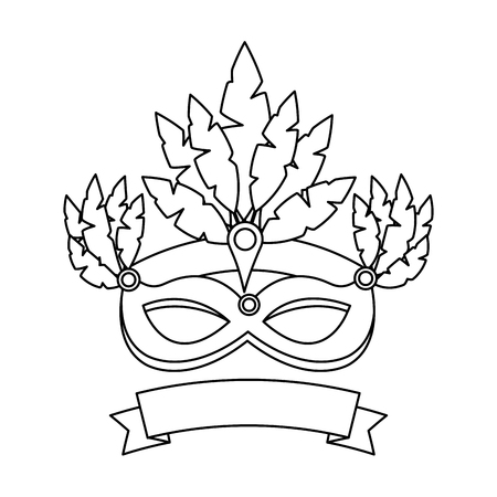 carnival mask with feathers jewelry decoration banner decoration vector illustration outline design