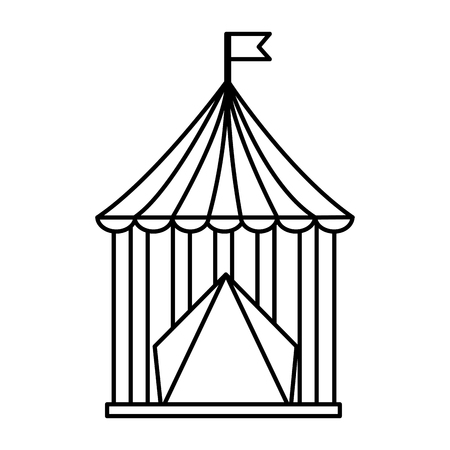 carnival circus tent flag striped image vector illustration outline design