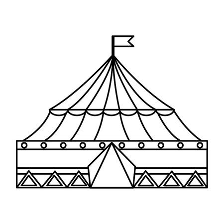 carnival circus tent flag striped image vector illustration outline design
