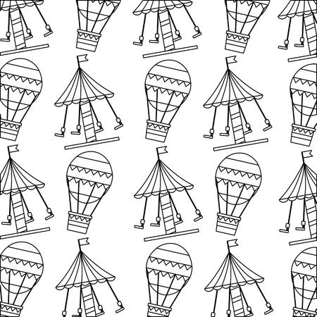 carnival funfair festive pattern hot air balloon carousel vector illustration outline design