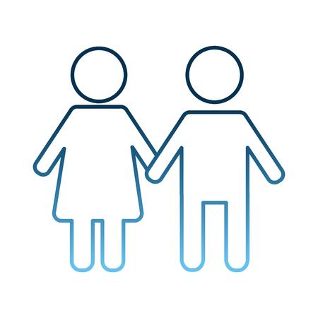 Mâle mâle et femme tenant illustration vectorielle couleur bleue de couleur bleue Banque d'images - 98085250