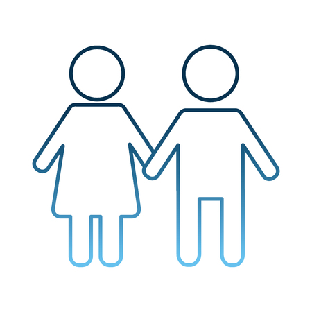 pictogram male and female couple holding hands vector illustration gradient blue color Archivio Fotografico - 98085250