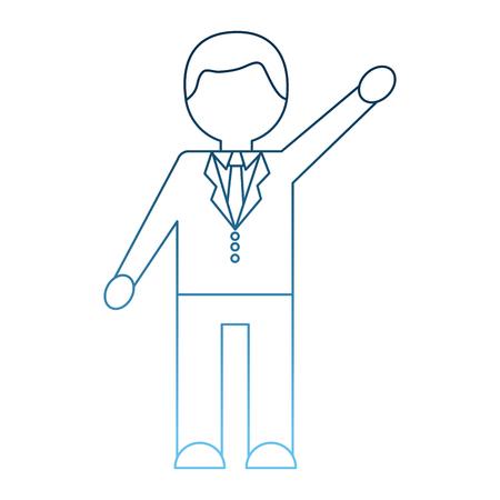 businessman in suit necktie character contour vector illustration gradient blue color