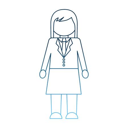 businesswoman character wearing skirt necktie vector illustration gradient blue color