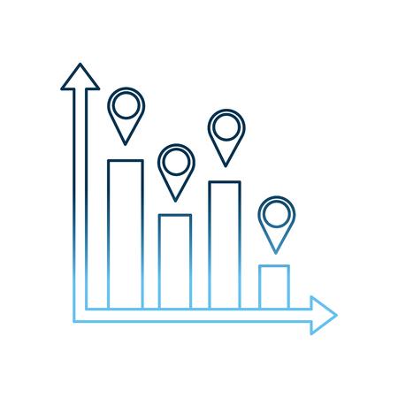 statistic information bar graph pointer map vector illustration gradient blue color 向量圖像