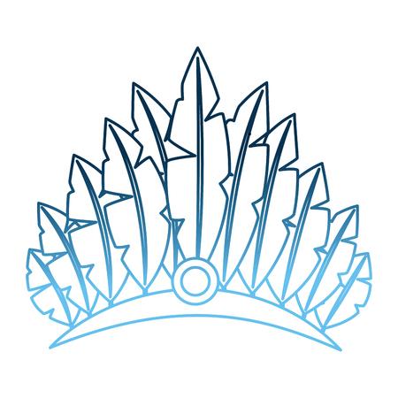 Kopfschmuck Karneval mit Federn und Schmuck Vektor-Illustration Gradienten blaue Farbe Standard-Bild - 98250145