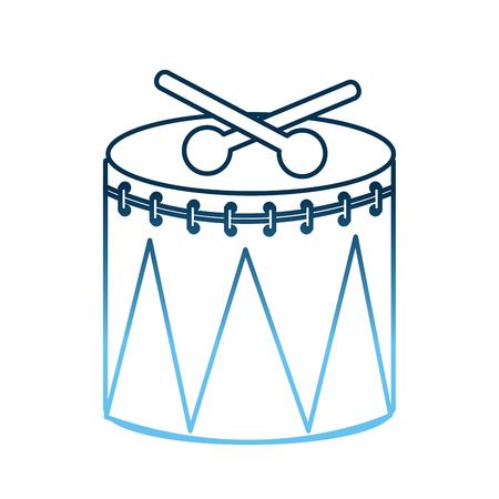 instrument percussion sticks musical celebration vector illustration gradient blue color