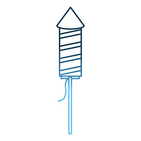 fireworks rocket in wooden stick celebration vector illustration gradient blue color  イラスト・ベクター素材