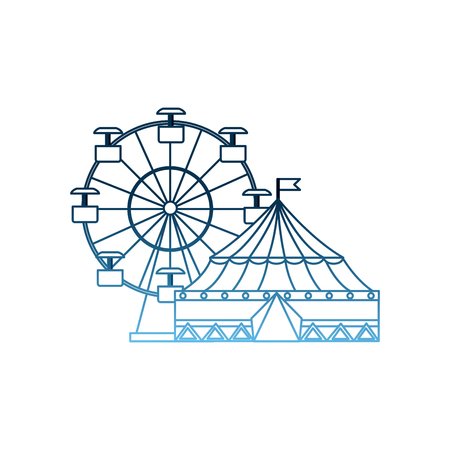 carnival circus festival tent ferris wheel entertainment vector illustration gradient blue color Stock Vector - 98250160