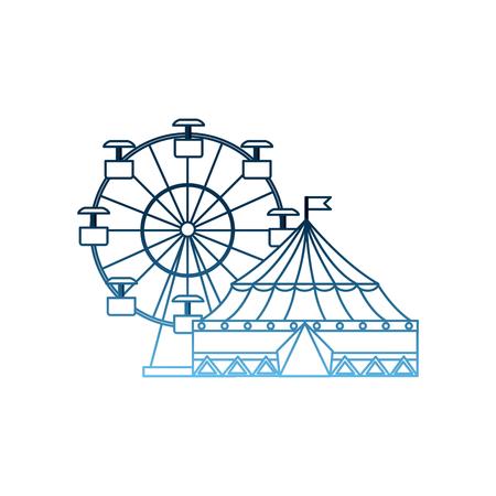 carnival circus festival tent ferris wheel entertainment vector illustration gradient blue color