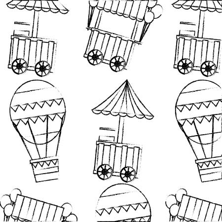Carnival funfair festive pattern food entertainment vector illustration sketch design Stock Illustratie