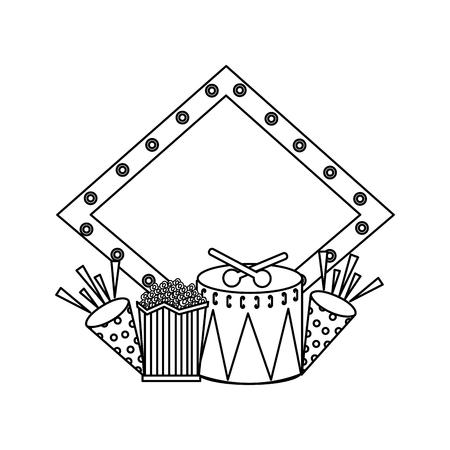 Board light empty drum popcorn fireworks carnival vector illustration outline design