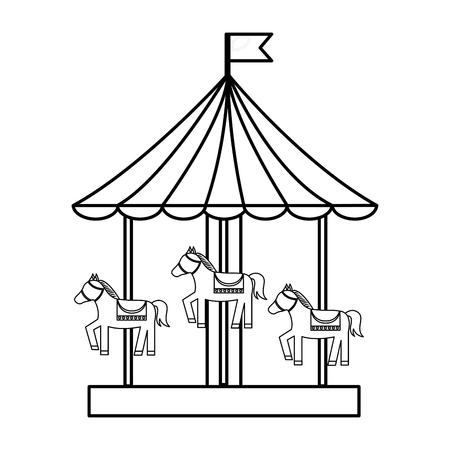Carnival funfair carousel entertainment enjoy vector illustration outline design Illustration