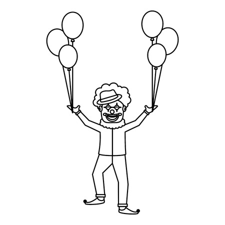 Happy clown character holding balloons celebration vector illustration outline design  イラスト・ベクター素材