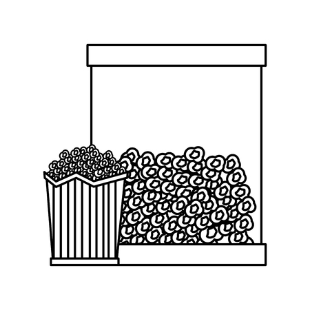 Popcorn in bucket snack delicious vector illustration outline design
