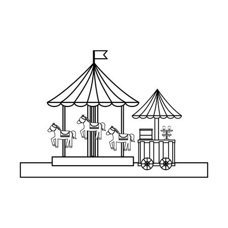 Carnival festival carousel and food ice cream cart vector illustration outline design