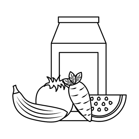 Packaging juice and carrot banana tomato watermelon vector illustration outline design