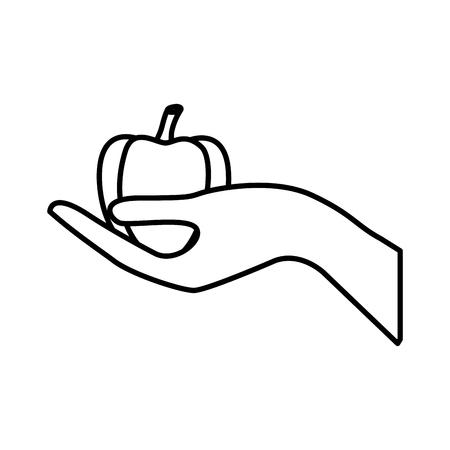 Main tenant poivron sain de style vecteur de mode de vie illustration de la caméra Banque d'images - 98178133