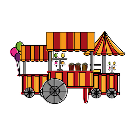 Carnival circus booths food ice cream balloons vector illustration