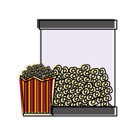 Popcorn in bucket snack delicious vector illustration Illustration