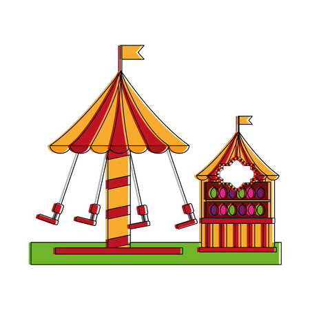 Carnival fun fair festival carousel chair and shooting game targets vector illustration Illustration