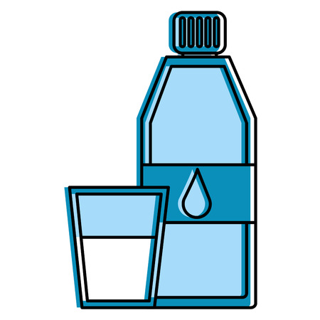 bottle water and fresh glass cup liquid vector illustration
