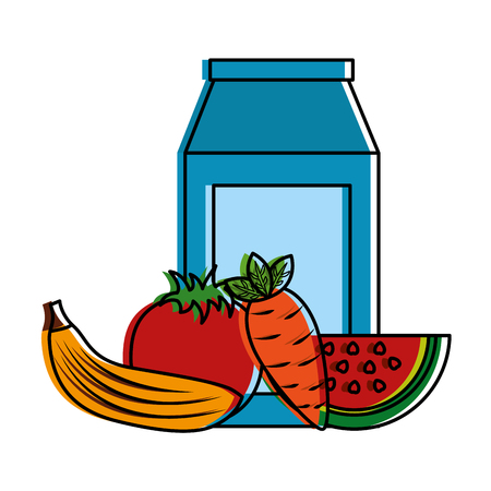 packaging juice and carrot banana tomato watermelon vector illustration Ilustração