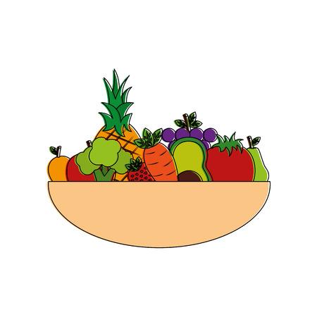 Bol complet fruits et légumes nourriture mélangée nutrition illustration vectorielle Banque d'images - 98141328