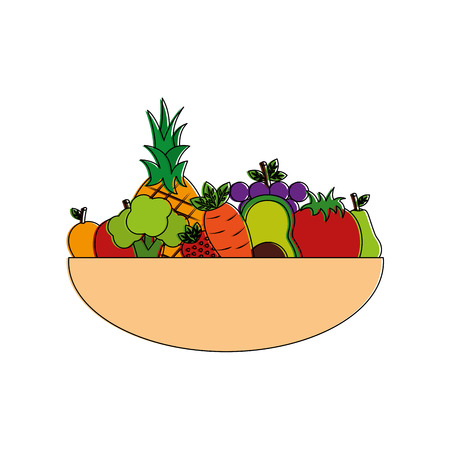 bowl full fruit and vegetable mixed food nutrition vector illustration Illusztráció