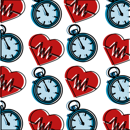 healthy lifestyle heart rate and chronometer sport wallpaper image vector illustration