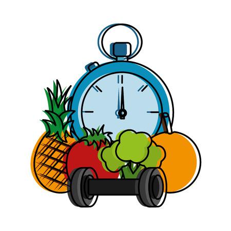 healthy lifestyle sport fresh pineapple tomato broccoli barbell chronometer vector illustration Illustration