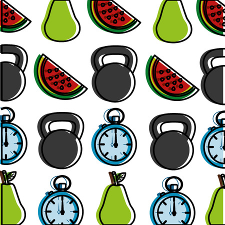 healthy lifestyle dumbbell sport chronometer and pears wallpaper image vector illustration Stock Vector - 98141339