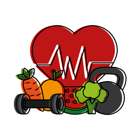 healthy lifestyle sport fresh heart rate carrot  weight barbell vector illustration