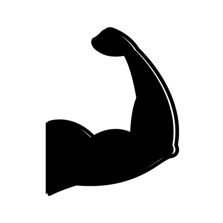 sport arm strong muscle gym symbol vector illustration black image